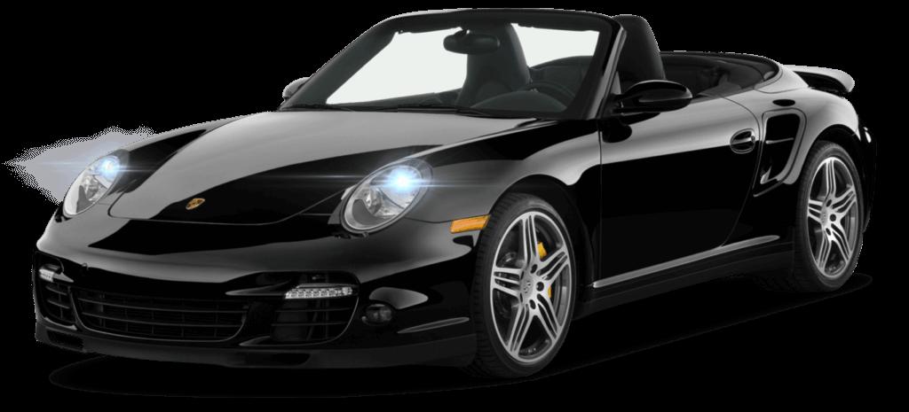 Porche 911 noir cabriolet, avec feux automatiques